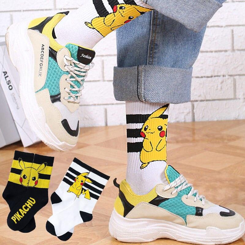 Medias de Pikachu mujeres de dibujos animados anime Pokemon kawaii Harajuku algodón antideslizante hombres a casa negro blanco Calcetines