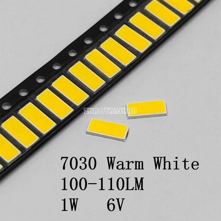 7030 blanco cálido 2800K-3200K SMD LED 1W 6V 110-130LM 6,5-7,0 V el resaltado de bola LED