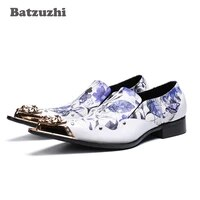 batzuzhi luxury men shoes pointed iron toe formal leather dress shoes men white party and wedding mens shoes zapatos hombre