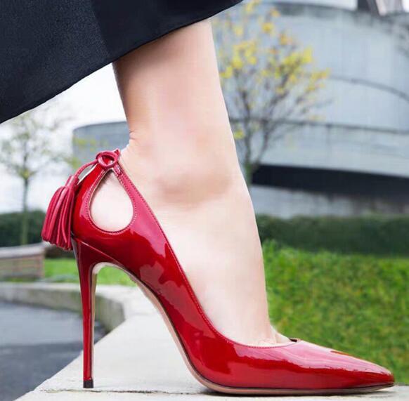 Zapatos de tacón alto de charol rojo de moraima snc, zapatos de tacón fino de 10cm para fiesta, zapatos de tacón puntiagudos con flecos de gamuza para mujer