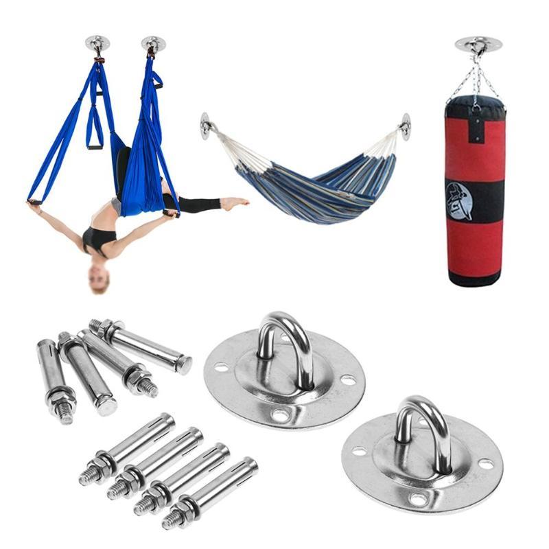Hamaca de acero inoxidable con hebilla fija para montar en pared, ganchos de anclaje aéreo para Yoga, bolsa de arena, techo, columpio, accesorios de colgar en el hogar