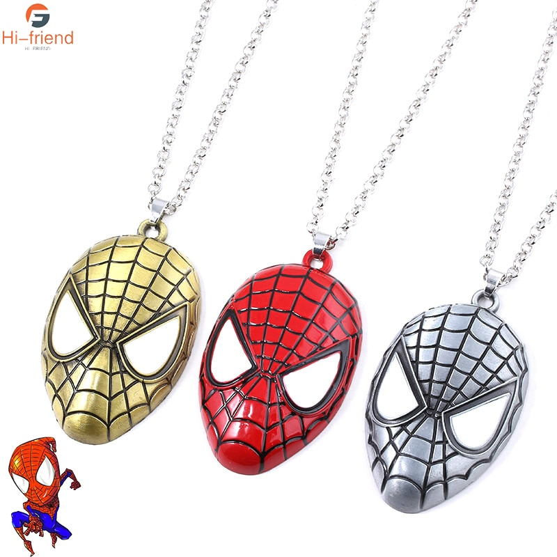 Super Heros Spider Mask Pendant Necklace Fashion Punk Jewelry Gifts For Boys Mans Party Necklaces