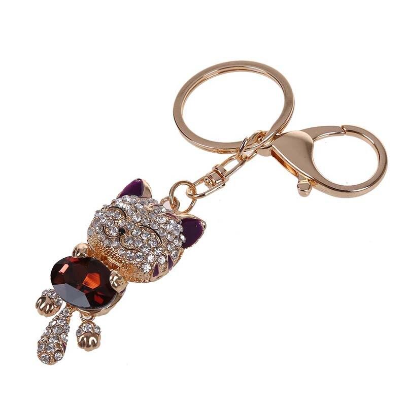 Diamantes de imitación de cristal dije con llavero colgante para cartera bolsa llavero cadena llavero de gato púrpura