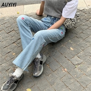 High-waist split jeans women's personalized embroidery spring 2021 new loose and thin casual large size raw-edge wide-leg pants