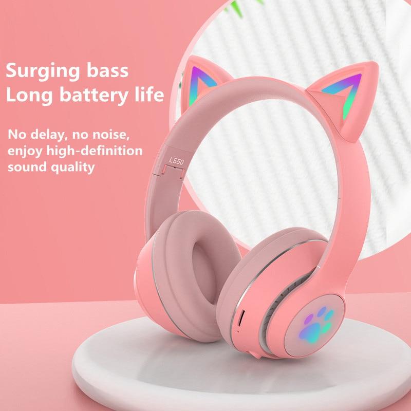 Flashing LED Cute Cat Ears Headphones Bluetooth-compatible 5.0 Wireless Headset with Mic Kid Girl Stereo Music Earbud Earphone