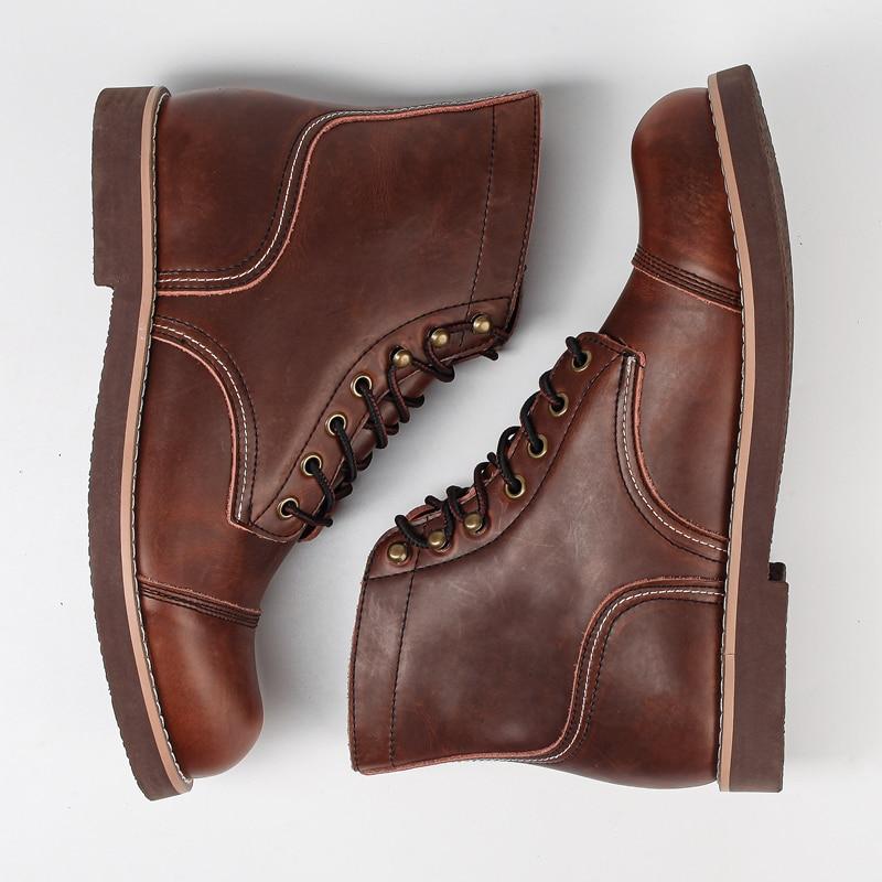 حذاء رجالي كاجوال عالي الجودة من Yomior مصنوع يدويًا للربيع حذاء كاحل عتيق للأدوات وأجنحة جلد البقر للدراجات النارية