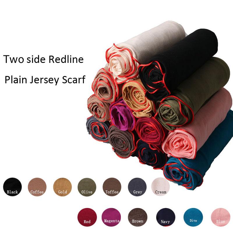 RedlineSGM 180*80cm Two Side Redline plain Jersey Scarf Soft Materail Long Shawls Wraps Solid Color