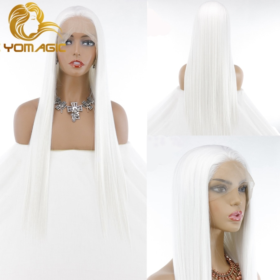 Yomagic Long Straight Synthetic Hair Lace Front Wigs for Women Natural Hairline White Color Synthetic Glueless Lace Wigs
