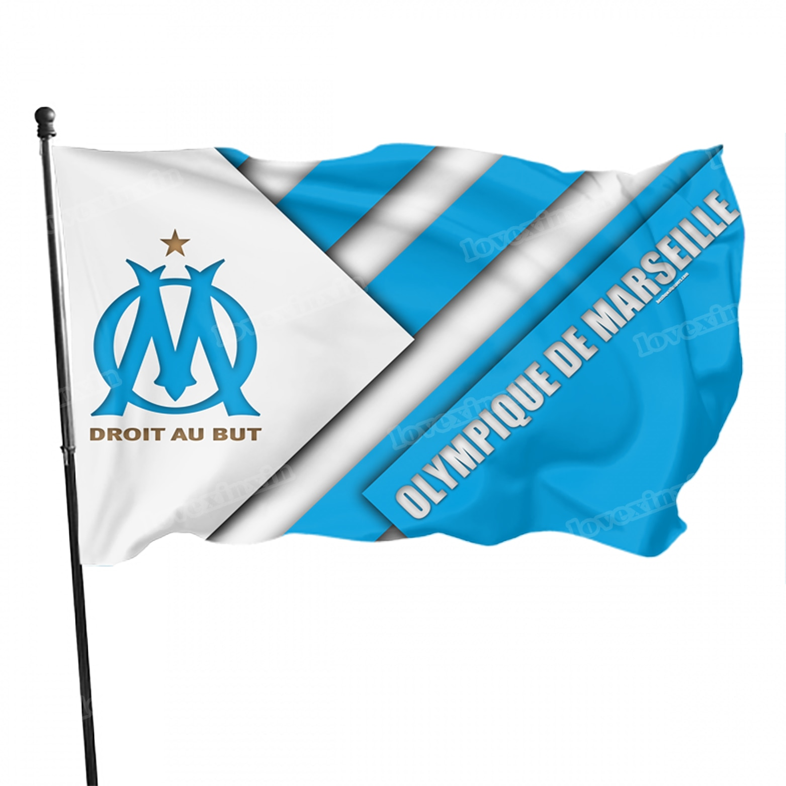 Флаг французского Марселя с логотипом футбольного клуба, украшение для сада, флаг Марселя, HD флаг на заказ