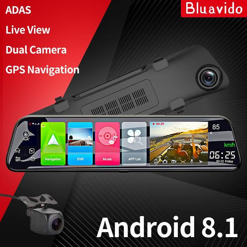 Зеркало-видеорегистратор Bluavido, Автомобильный видеорегистратор на платформе Android с системой ADAS и GPS-навигацией, видеорегистратор заднего ви...