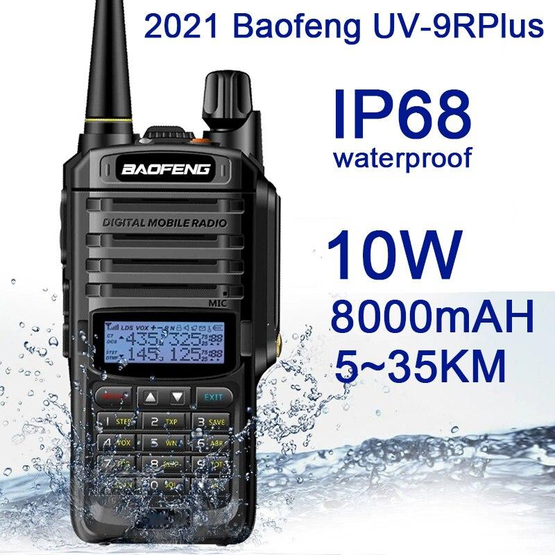 2021Nieuwe Baofeng UV-9RPlus 10W IP68 Walkie Talkie Waterdichte Dual Band Portable Cb Jacht Ham Radio UV9RPlus U/vhf Transceiver