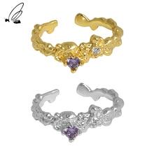 S'STEEL 925 Sterling Silver Korean Design Micro Zircon Opening Ring Gift For Women's Minimalist Gold
