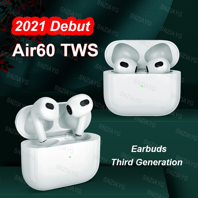 2021 New Air60 TWS Wireless Bluetooth Earphone Light Sensor in-Ear Earbuds With Charging Case