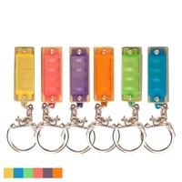 4 hole 8 tone mini harmonica keychain key rings toy gift musical instrument children harmonica