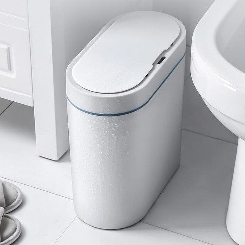 صندوق مهملات بمستشر ذكي يمكن الإلكترونية التلقائي الحمام المنزلية المرحاض مقاوم للماء التماس ضيق الاستشعار بن المنزل الذكي حاوية القمامة