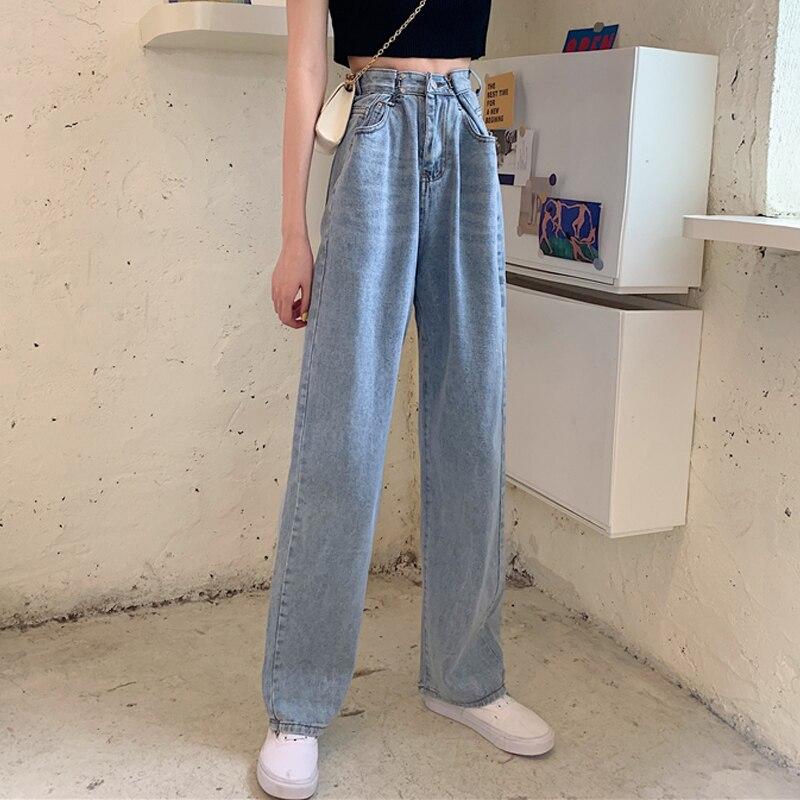 Wysokiej talii dżinsy dla kobiet 2021 lato nowy w koreańskim stylu szykowny wszystko pasujące prosto luźna cienka spodnie tatusia szerokie spodnie nogi