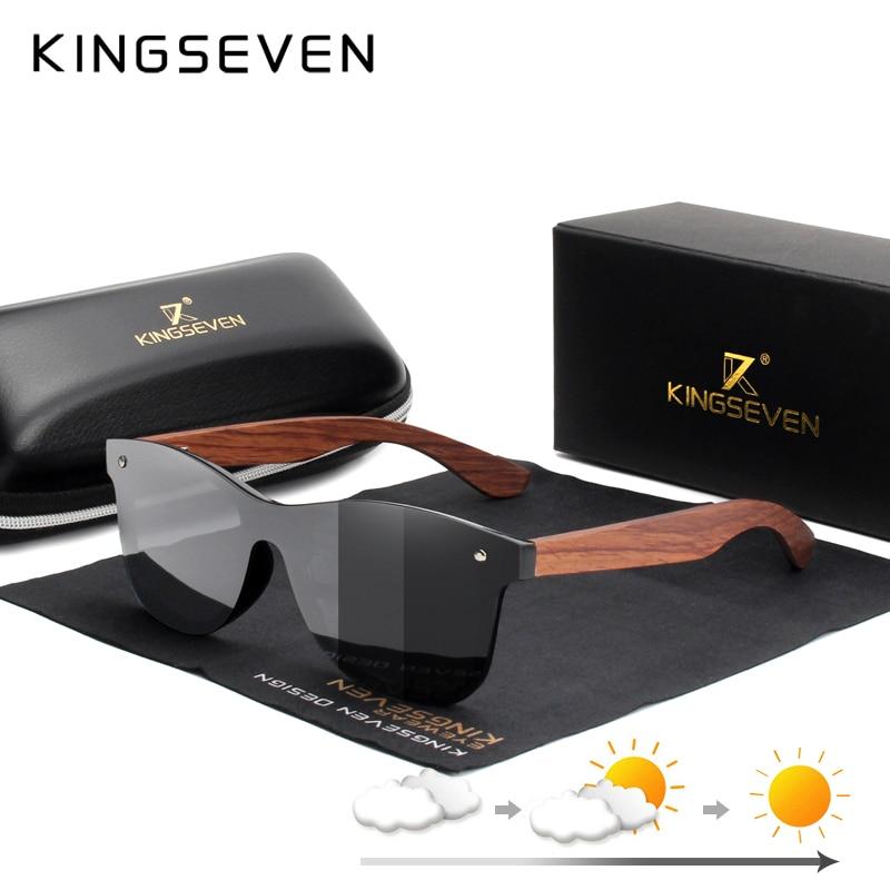 KINGSEVEN Natural Wooden Photochromic Sunglasses Men Polarized Fashion Sun Glasses Original Wood Ocu