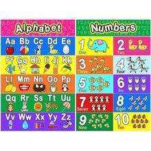 Ламинированный постер для дошкольников для детей ясельного возраста, 2 предмета, постеры с алфавитом, номер 1-10 для детской комнаты