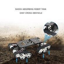 Tanque de Control remoto inteligente para coche, plataforma Robot para coche 4WD, Kit de chasis para Robot con absorción de impacto, trabajo en chasis de tanque de Metal DIY