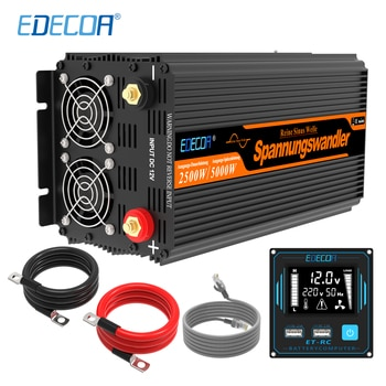 EDECOA pure sine wave DC 12V to AC 220V 230V 2500W power inverter with 5V 2.1A USB remote control LCD display
