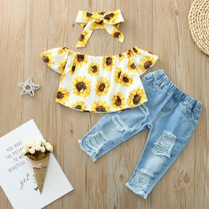 Toddler Kids Baby Girls Clothes Sets Sunflowers Print Off Shoulder T Shirt Tops+ Jeans Pants+Headband 3pcs Outfits