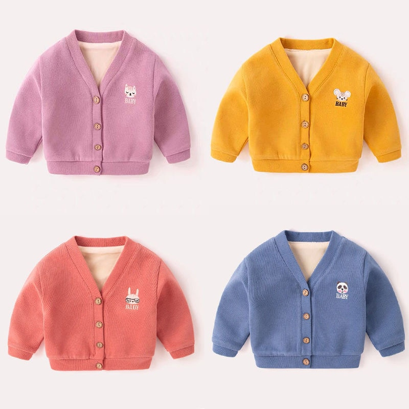 Autumn Winter Baby Girl Sweater Top Baby Children's Clothing Cartoon Embroidery Boys Girls Knitted Cardigan Sweater Kids Coats casual crochet baby sweater for boys solid warm autumn cardigan knitted kids long sleeve sweater school coat baby boys clothing