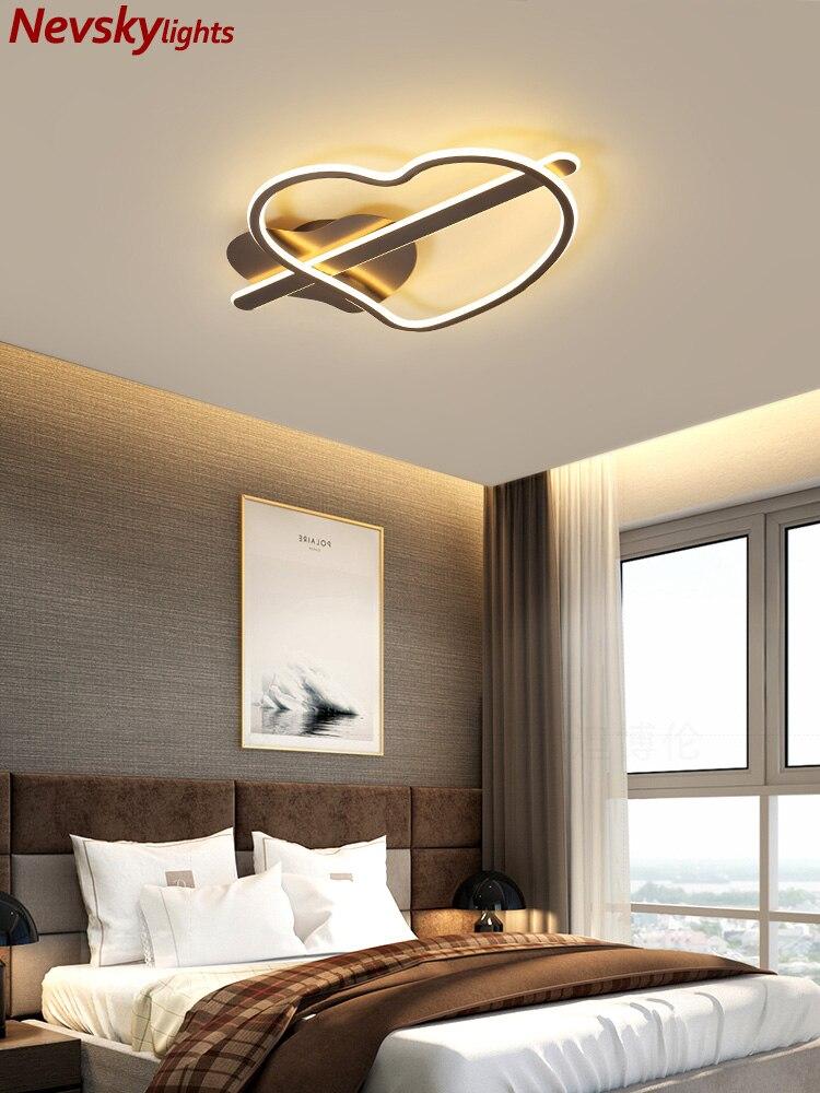Lámparas de techo dormitorio iluminación de techo led en forma de corazón sala de estar moderna lámpara marrón de techo comedor led accesorios de cocina forma