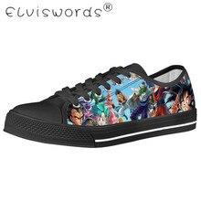 ELVISWORDS Men Black Vulcanize Shoes Dragon Ball Super Character Goku Printed Boys Large size Comfortable Canvas Flat Sneakers
