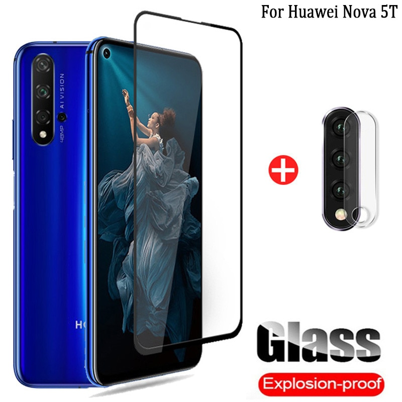 frontal + cámara cristal templado Huawei Nova 5T screen protector pantalla Nova5T Huawei 5 T T5 protector cámara glass film Nova5 T Huawei Nova-5T protector de pantalla Nova 5 T cristal Huawei-Nova-5 T glass