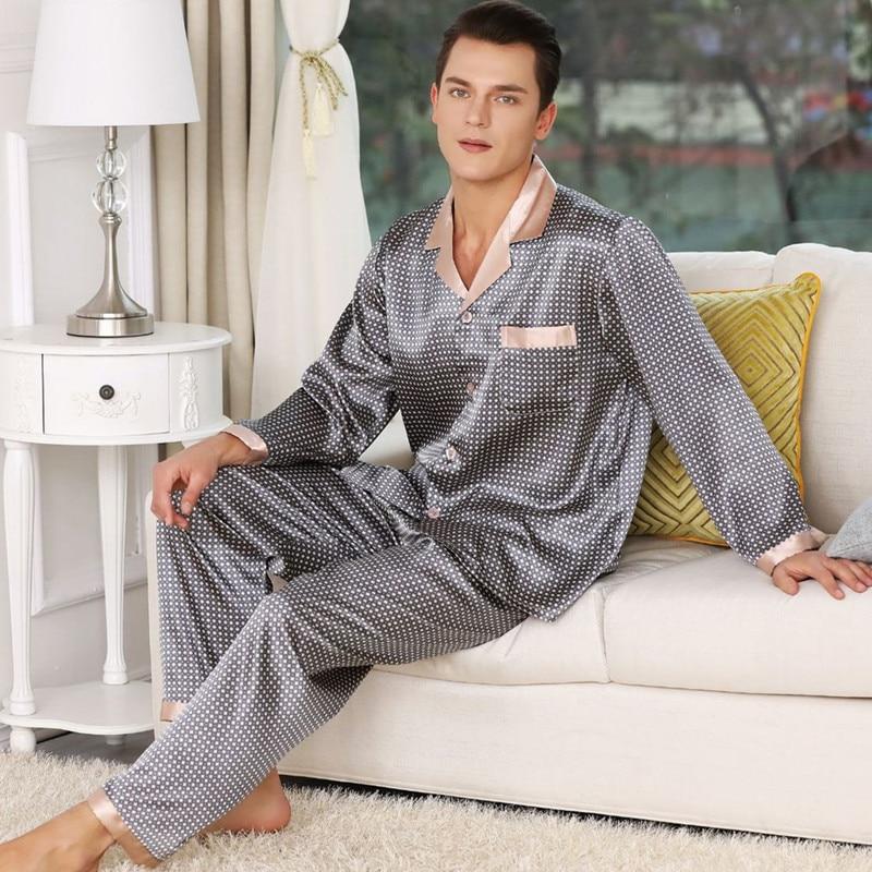 Мужские пижамы шелк атлас с длинными рукавами мягкий уютный сон топы брюки ночное белье принт мужские пижамы комплект или вышивка воротник одежда для сна