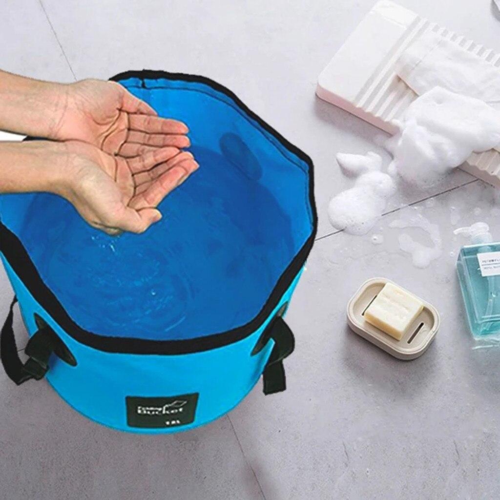 Cubo plegable conveniente con bañera cuadrada plegable de plástico plegable, cubo de agua de pesca portátil para uso doméstico al aire libre