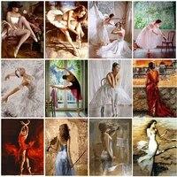 Toile de peinture murale  images dart de Ballet pour fille  dessin a lhuile pour enfants  affiches et imprimes de figurines de danseuse  decoration de salon  decoration de maison