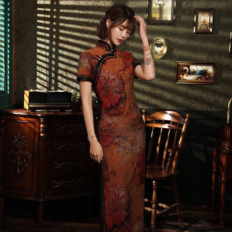 Clássico feminino tradicional chinês vestido de cetim sexy alta divisão impressão flor longo cheongsam plus size elegante manga curta qipao