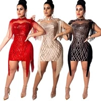 graceful tassel sequins night club evening party dresses cape spaghetti straps bodycon mini dress high quality female outfits