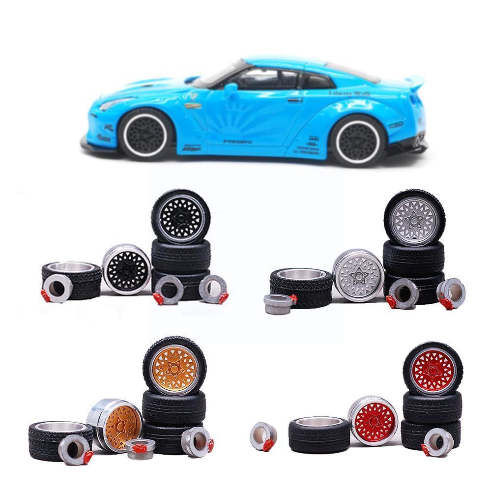 Аксессуары для моделей шин 1/64, колесные диски из сплава, аксессуары для колес, сменная Модель автомобильных игрушек, запчасти для модификац...