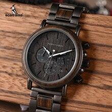 BOBO BIRD reloj de madera para hombre Relogio Masculino marca superior de lujo elegante cronógrafo relojes militares relojes en Caja de regalo de madera