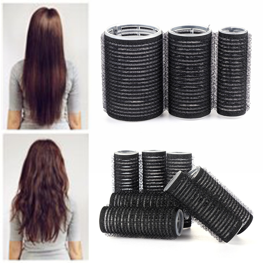 Black Large Self Grip Hair Rollers Pro Salon Hairdressing Curlers Professional Multi Size Hair Salon