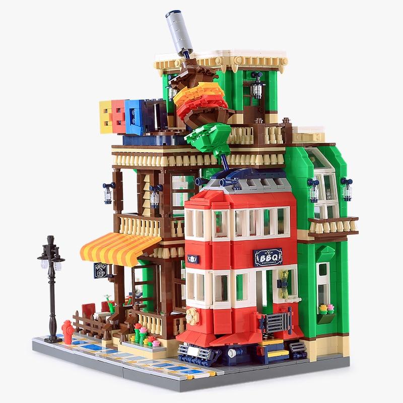 Wange 6313 1922 Uds ideas series barbacoa restaurante modelo bloques de construcción juguetes de arquitectura clásicos para niños