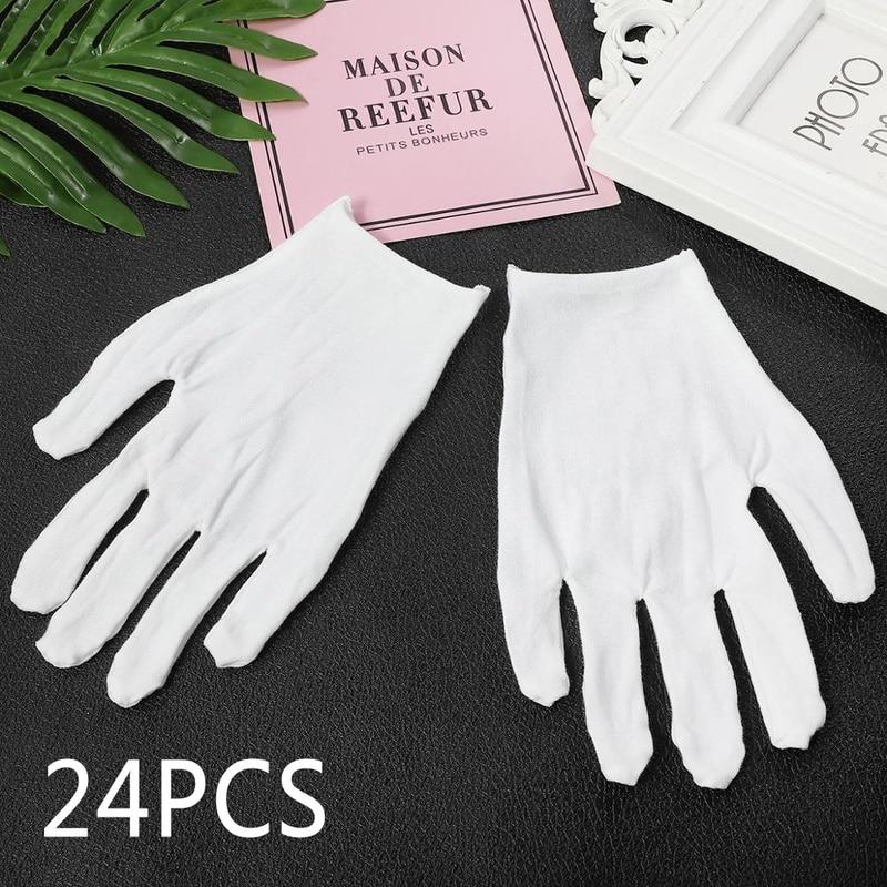 12 pares de luvas de algodão branco serviço de inspeção trabalho etiqueta esportes luvas de condução jóias leve altura qualidade