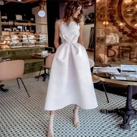 short wedding dress a line stain bridal gowns spaghetti straps tea length beach boho bride princess party dress