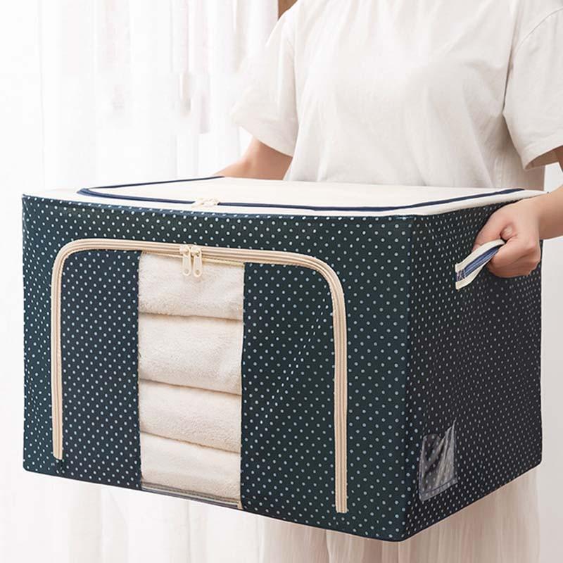 طوي القطن الكتان أكسفورد تخزين ملابس صندوق مع نافذة واحدة شفافة ومع مقبض الملابس لحاف الفراش صندوق تخزين