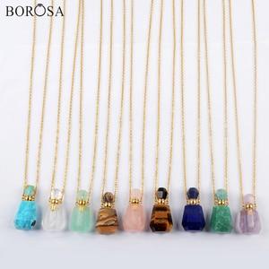 BOROSA 3Pcs Gold Natural Gems Stone Pendant Perfume Bottle Diffuser Essential Oil Bottles 26inch Gold Necklace for Women G1965-N