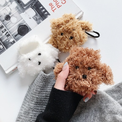 Cute earphone case holder protective plush dog for Apple headset sleeve airpods 2 generation wireless Bluetooth cute female enlarge