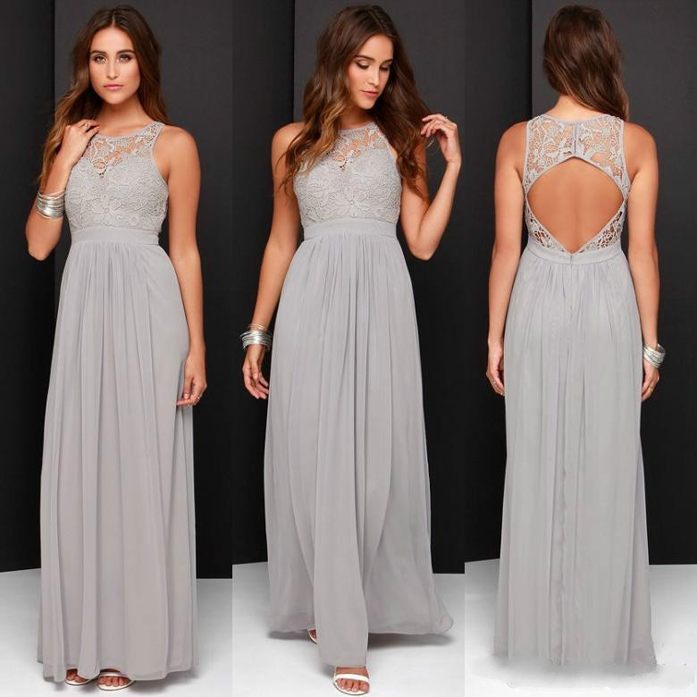 maid of honor dresses for weddings bridesmaid party dresses for women long prom dress graduation dresses back of bandage a line Cheap Grey Bridesmaid Dresses for Wedding Long Chiffon A-Line Backless Formal Dresses Party Lace Modest Maid Of Honor Dress