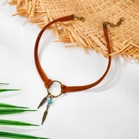 classic leather choker necklaces for women girls vintage antique gold boho necklaces feather leaves pendant fashion jewelry
