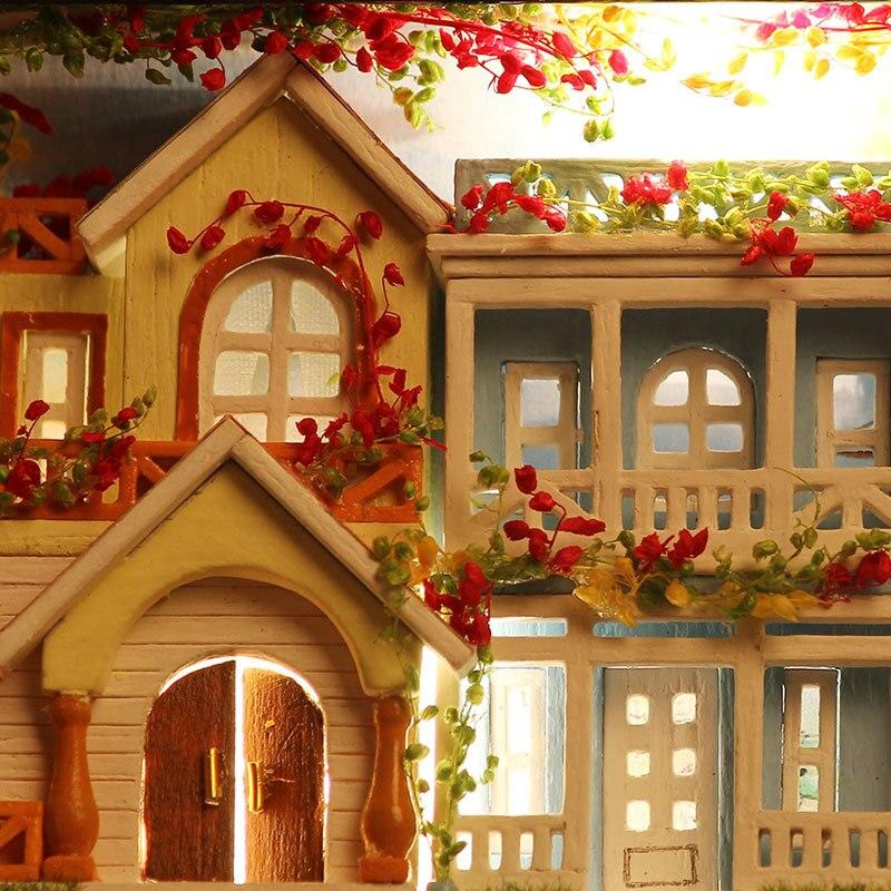 Diy casa de campo caixa teatro nova zelândia rancho mão montado casa modelo cidade sonho selva tempo casa de boneca