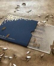 Custom hochzeit einladung karte 10 stücke spitze bunte druck royal blau acryl karte einladungen