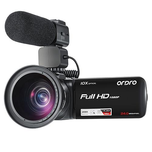 Ordro Z82-كاميرا فيديو Vlog ، مع عدسة بزاوية عريضة ، 1080P Full HD ، تكبير بصري 10X لمدونين YouTube