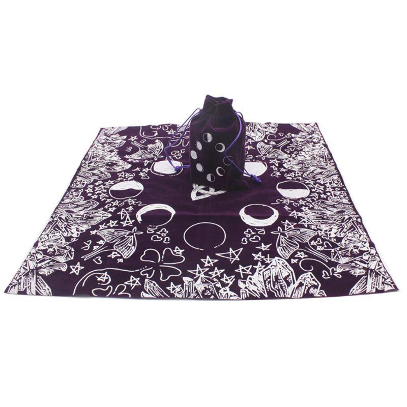 Mantel para tarot de terciopelo con bolsa para divinación de la bruja fases de la luna Lover tela para el retablo Y4UB