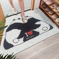 cartoon panda entrance welcome mats sand scraping door hallway bath non slip rug dust removal carpet wire loop footpad doormats